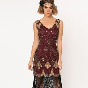 Burgundy and Gold Beaded Flapper Dress size M/L
